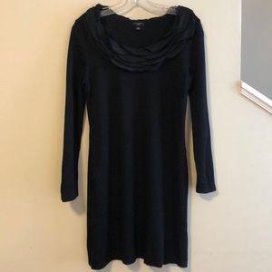 Ann Taylor Black Dress with Ruffled Collar